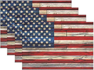 Naanle Wooden American Flag Placemats Set of 6, 4th of July Star and Stripe Non Slip Heat-Resistant Washable Table Place Mats for Kitchen Dining Table Home Decoration, 12