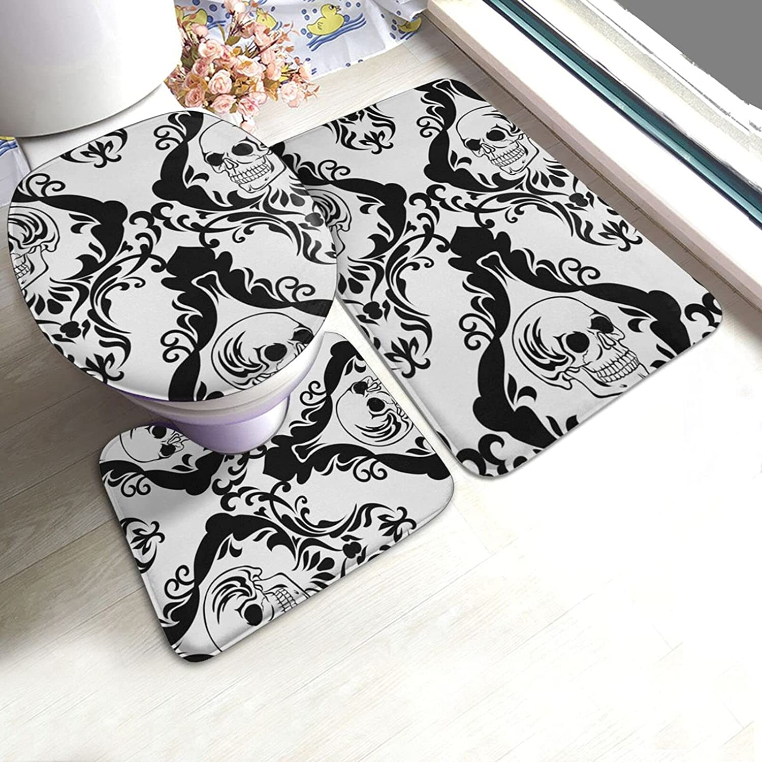 OcuteO Bathroom Year-end annual account Rugs and Mats Sets 3 Piece Max 68% OFF Vector for Skull Tatt