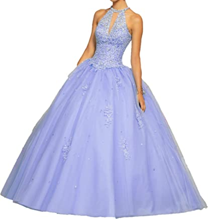 5cdad7b6a9 HuaMao Women s Appliques Lady Beaded Prom Sweet 16 Quinceanera Dresses