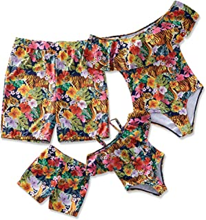 Yaffi Family Matching Swimsuit 2019 Newest One Piece Ruffle Beachwear Tiger in Floral Printed Off Shoulder Monokini