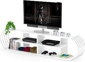 HomeCanvas RF170305 Canvas Case TV Unit Modern Living Room Made In Turkey(White-Chrome)