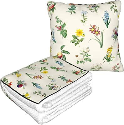 KXT Flower Type Travel Blanket Pillow - Premium Soft 2 in 1 Blanket for Airplane Couch Sofa Bed