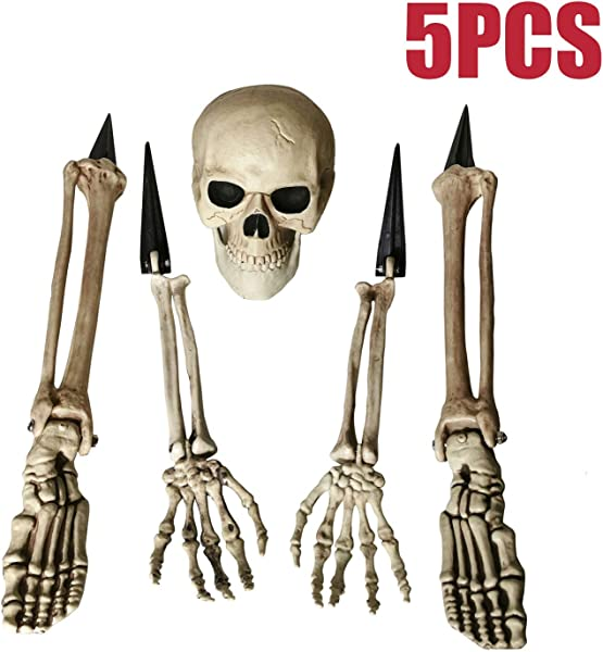 ALLADINBOX Halloween Creepy Graveyard D Cor Groundbreaker Realistic Skeleton Bones And Skull Include Skull Hands Legs Arms And Feet With Lawn Stakes For Outdoor Party Life Size