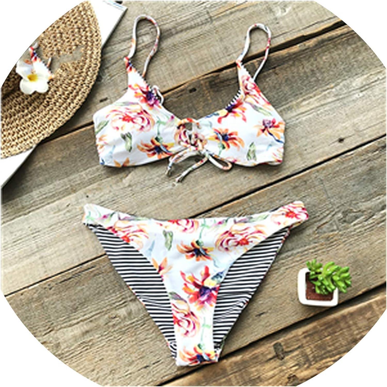 Fourisland Floral Print and Striped Reversible Bikini Set Women Lace Up Two Pieces Swimwear Swimsuits