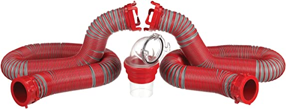Valterra Viper 20-Foot RV Sewer Hose Kit, Universal Sewer Hose for RV Camper, Includes 2 Attachable 10-Foot Hoses with Rotating Fittings, 90 Degree Clearview Sewer Adapter and 4 Drip Caps