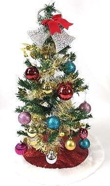 "PEPPERLONELY 18"" Mini Glitter Fabric Christmas Tree Skirt - Red"