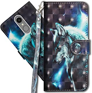 Lg K10 2017 Wallet Case, LG LV5 Premium PU Leather Case, COTDINFORCA 3D Creative Painted Effect Design Full-Body Protective Cover for LG K20 Plus/LG Harmony/LG K10 2017. PU- Wolf