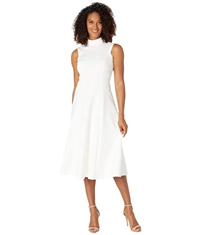 Calvin Klein High Neck A-Line Dress (Cream) Women
