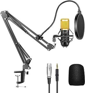 Neewer NW-800 Micrófono Condensador Profesional Estudio y NW-35 Micrófono Grabación Ajustable Suspensión Brazo de Tijera S...