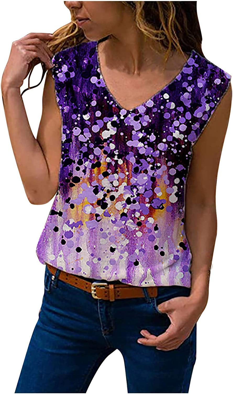 Women Sleeveless Tank Top Casual Fashion Loose V-Neck Dazzling Color Printing Vest Tunics