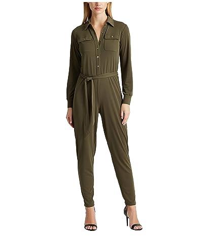 LAUREN Ralph Lauren Petite Buttoned Jersey Jumpsuit (Dark Sage) Women