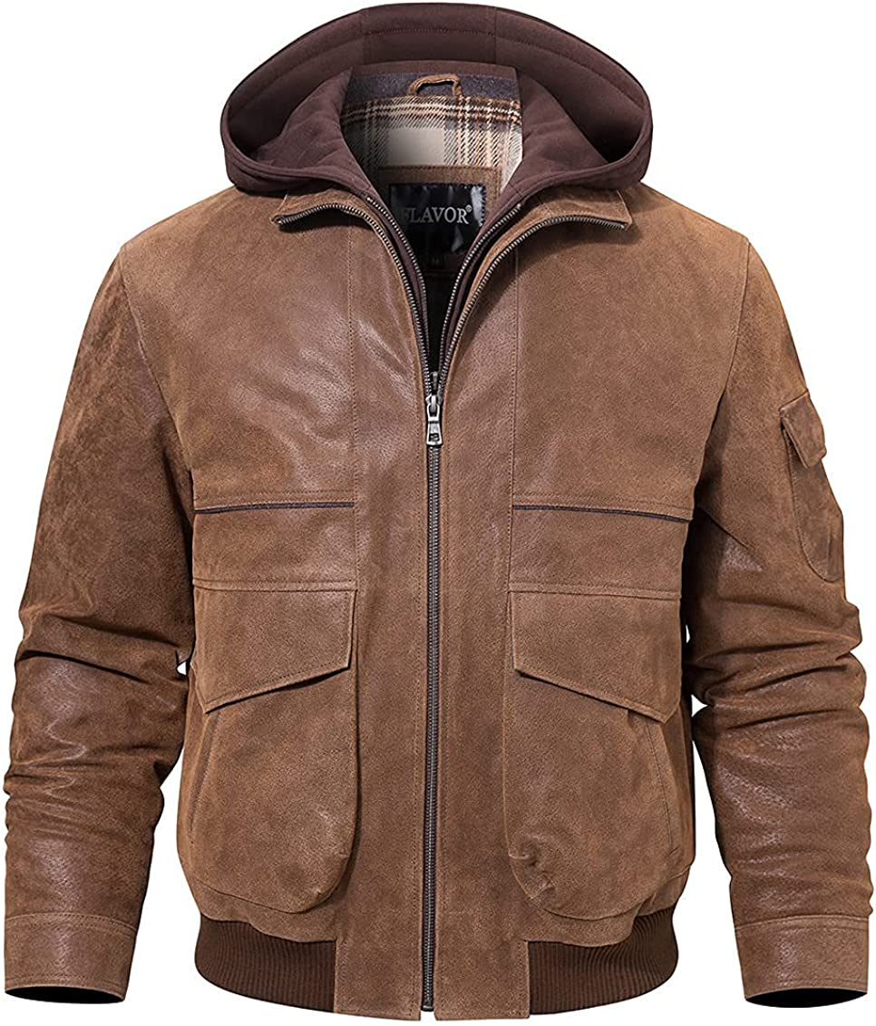 FLAVOR Men's Genuine Leather Hooded Jacket Cotton Lined