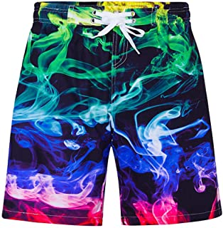 ALOOCA Kids Swim Trunks Sports Running Beach Boardshorts 3D Print Colorful Quick Dry Casual Loose Fit Surf Pants with Pocket Drawstring 11-12T