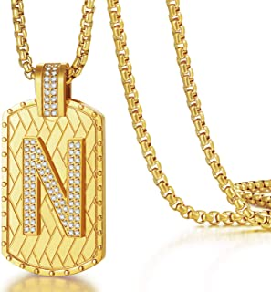 Gold Initial Necklace for Men A-Z Letter Pendant Chain...