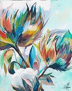 DIY Colorful Cotton Diamond Painting, Square Full Drill Diamond Painting Kit for Adults, 5D Diamond Painting Flower, Paint by Number Kits Flower (11.8X15.8 INCH)