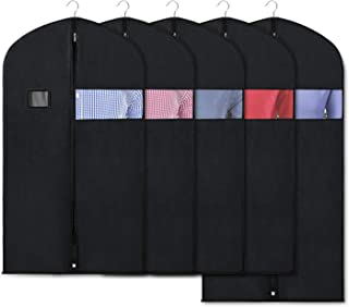Zilink Black Garment Bags for Storage and Travel 43/50 INCH Anti-Moth Protector Suit Cover with Clear Window for Suit Jacket Shirt Coat Dresses (Pack of 5)