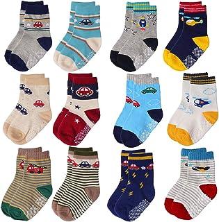 Tphon, 12 pares de calcetines antideslizantes para niños pequeños con puños parte inferior antideslizante, calcetines de algodón antideslizantes para niños y niñas (1 a 7 años)