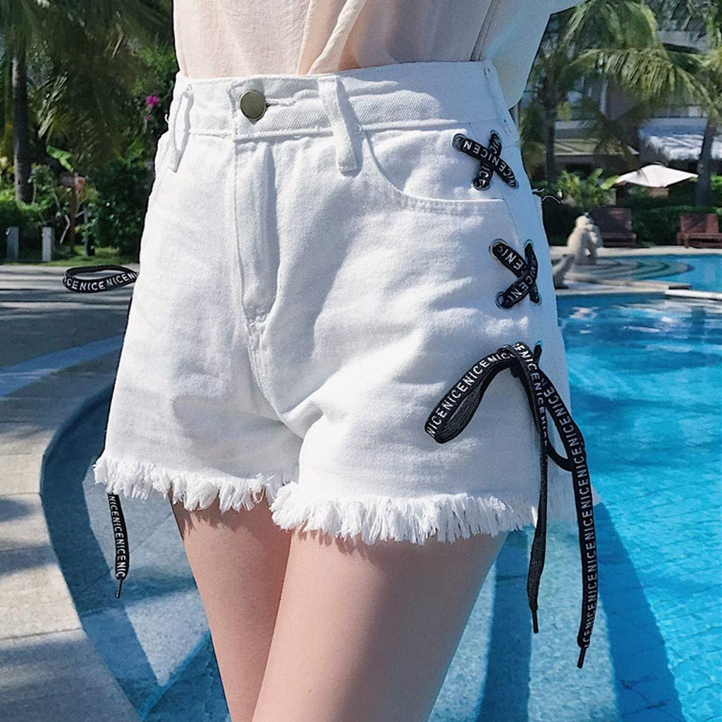 Forthery Denim Hot Shorts For Women Casual Summer High Waisted Sexy Bandage Denim Shorts Pants Wide-Leg Jeans