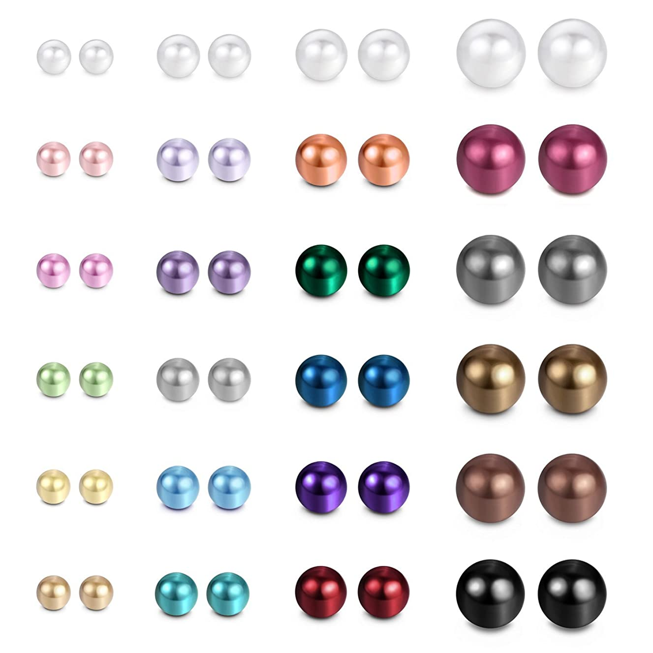 JewelrieShop Assorted Mixed Color Wholesale Lot Imitation Pearl Earrings Studs Gift Set, Hypoallergenic Stainless Steel, Stud Earrings for Women and Girl (24 pairs/multicolor ball studs set)