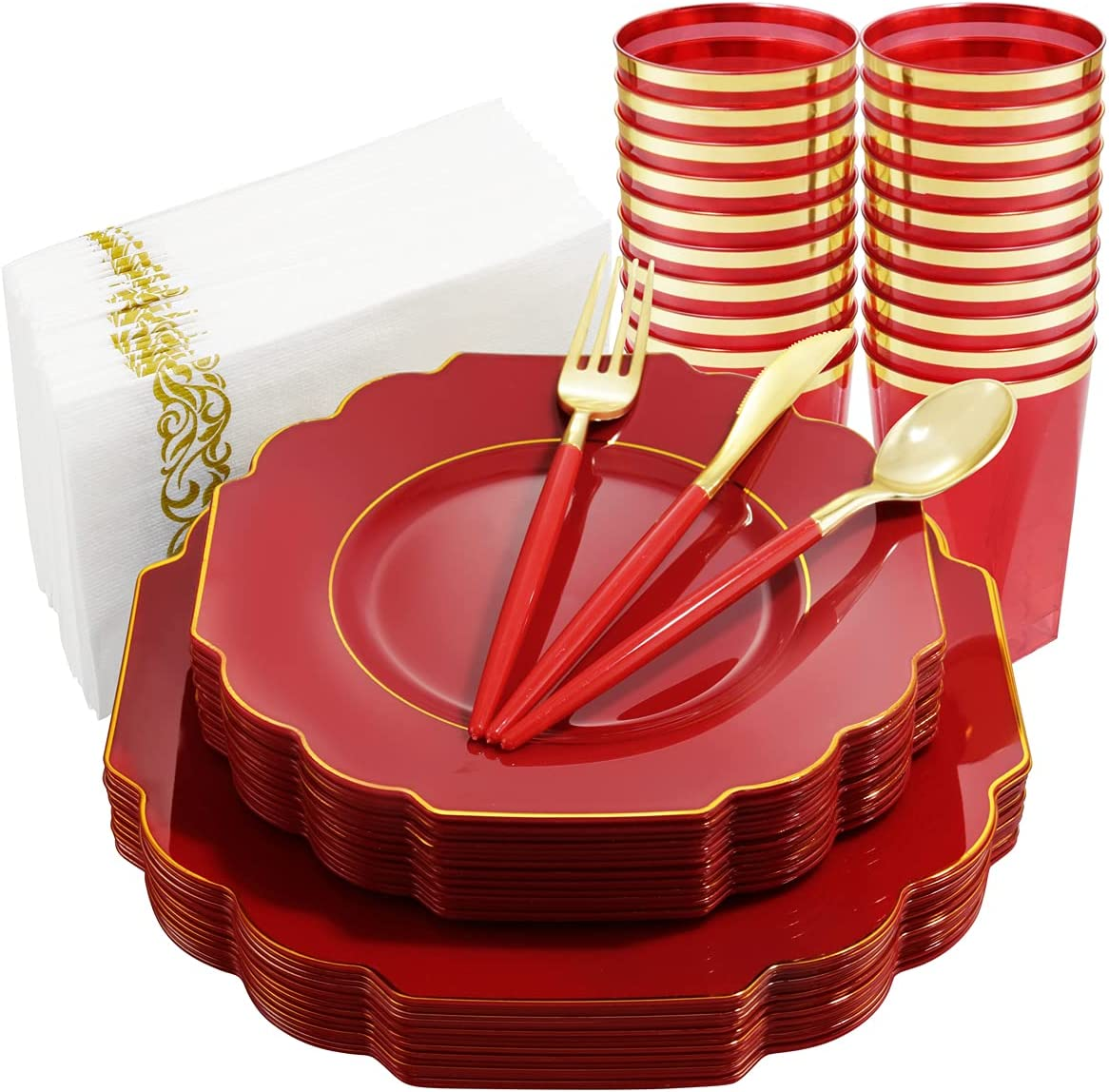 Nervure 140PCS NEW before selling ☆ Red Plastic Silverware with Gold famous Plates