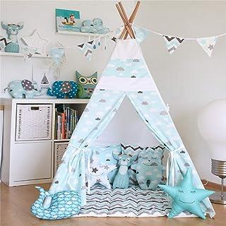Baby tipi tält vikbar bomull kanvas tipi rum fotografi tält dekoration indisk lekhus tipi tält med matta väska för flickor...