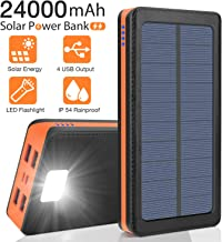 Solar Charger 24000mAh, Portable Phone Charger Power Bank External Battery Pack Backup Charger, Dual Input Ports, 4 USB Output Ports, Flashlight, IPX5 Rainproof for Camping, Travel, Emergency