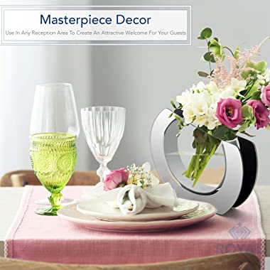 """Royal Imports Flower Glass Vase Decorative Centerpiece for Home or Wedding Round Angled Mirror Trim Plate Glass, 9.25"""" Ta"""