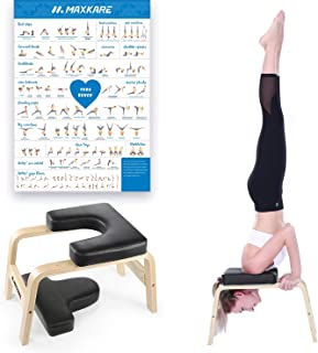 MaxKare Yoga Headstand Bench Head Stand Wood Inversion Chair Stool Handstand with PVC Pads for Workout, Home Gym Unisex- R...