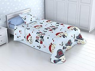 Cabetex Home - Colcha Bouti Infantil Reversible 100% con Funda de cojín y Tacto algodón Mod. BUCANERO (Cama de 90 cm (180_x_260 cm))