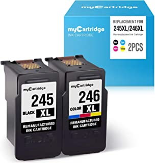 myCartridge Re-Manufactured Ink Cartridge Replacement for Canon PG-245XL CL-246XL 245 246 (1 Black 1 Tri-Color, 2-Pack) Work with Canon PIXMA MX492 MX490 MG2520 MG2522 MG3022 MG2922 TS3120 TS3122