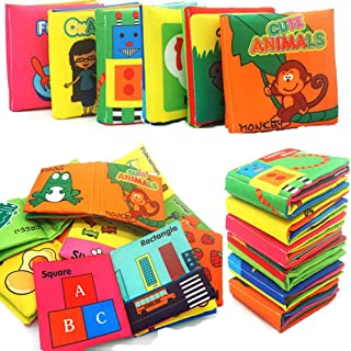 Here Fashion Baby Infant First Non-Toxic Fabric Soft Cloth Book Set Squeak Crinkle Colorful Toddler Rustling Sound Activity Learning Toys  - Pack of 6