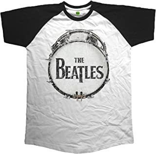T Shirt Original Vintage Drum Logo Official Mens White Raglan