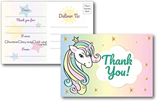 25 Fill in Unicorn Thank You Cards for Kid's Birthday Party, Perfect for Baby Shower, Bridal Shower, Unicorn Party Decorations, Postcard Style Option No Envelopes Needed, Girls 4x6 Thank You Notes