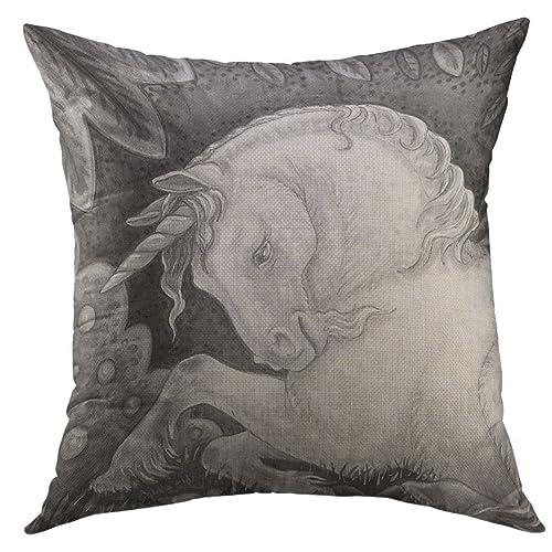 Mugod Decorative Throw Pillow Cover Medieval Gothic Unicorn Horse Fantasy Equine Home Decor Case 18x18