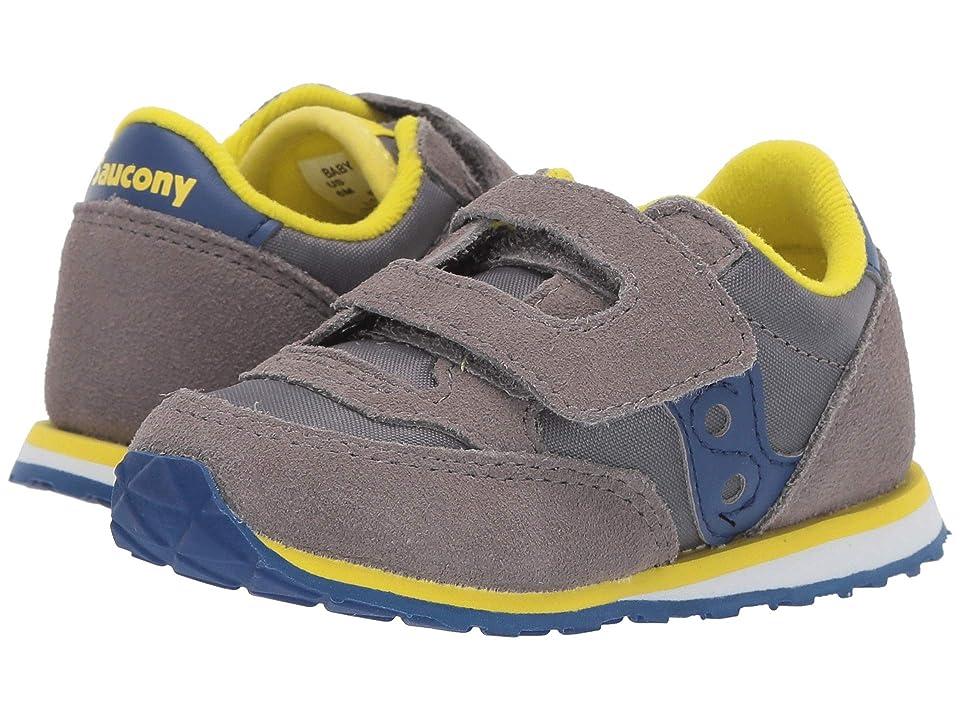 Saucony Kids Originals Jazz Hook Loop (Toddler/Little Kid) (Grey/Blue) Boys Shoes