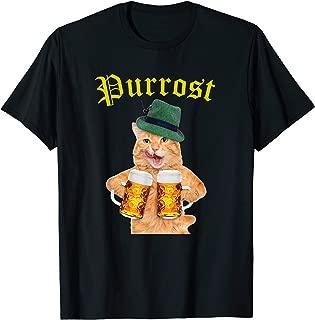Funny Oktoberfest Cat Apparel Kitty Drinking Beer Purrost T-Shirt