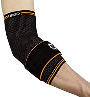 Urbo Elbow Compression Brace (FDA & CE Approved) with Ergonomic Support for Computer Use Problems Like Tennis Elbow, Golfer's Elbow, Mouse Elbow, Tendinitis & Repetitive Strain Injuries (Medium)