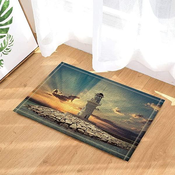Xuelizhou Blue Sky Yellow Sunset Blue Ocean White High Tower Bathroom Mat Right Angle Non Slip Door Pad Children 40X60CM