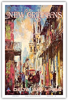 Pacifica Island Art - New Orleans - Delta Air Lines - Vintage Airline Travel Poster by Jack Laycox c.1970s - Master Art Print - 12in x 18in
