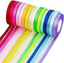 """Supla 16 Colors 400 Yard Fabric Ribbon Silk Satin Roll Satin Ribbon Rolls in 2/5"""" Wide, 25 Yard/roll,16 Rolls,Satin Ribbon..."""