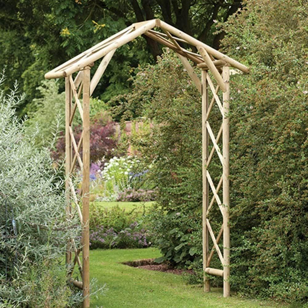 Madreselva tradicional rústico redondo Timbered Apex techo jardín arco: Amazon.es: Jardín