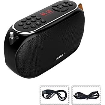 SUNhai Bluetooth Speaker Portable Wireless Radio Desktop Speaker J19 with HD Sound,FM,TF,USB Player,USB Charge,AUX Input,Built-in Microphone,Aux Cable,Support Hands-Free Call for Outdoors,Party-Black
