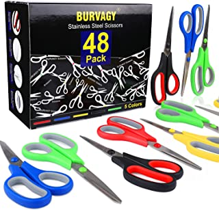 Sponsored Ad - 48 Packs Scissors, BURVAGY 8-inch Soft Comfortable Grip and Stainless Steel Sharp Blades, Very Suitable for...