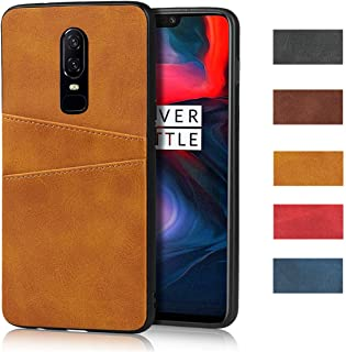 Jaorty Compatible with OnePlus 1+ 6 Case, Slim PU Leather Back Case Cover with Credit Card Holder Durable Protective Cover Case for OnePlus 1+ 6 (Khaki)