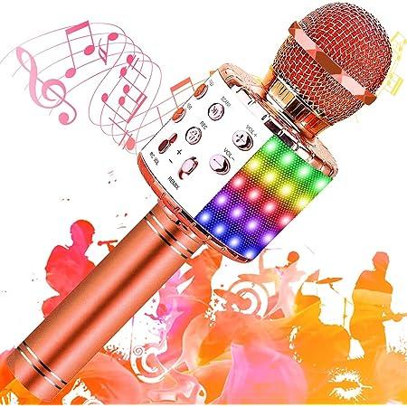 SunTop Microphone Karaoké Bluetooth Sans Fil, Haut-parleur Multifonctionnel avec Lumière LED Colorée, Parleur Intégré Chanter Player Karaoké, Micros sans fil pour KTV à la Maison/Soirée