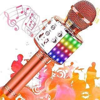 SunTop Microphone Karaoké Bluetooth Sans Fil, Haut-parleur Multifonctionnel avec Lumière LED Colorée, Parleur Intégré Chan...