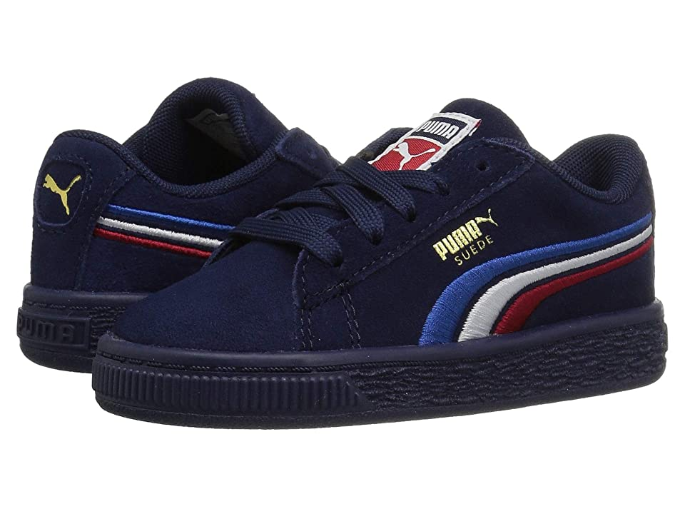 Puma Kids Suede Classic Multicolor Embossed (Little Kid/Big Kid) (Peacoat/Puma White/Ribbon Red/Strong Blue) Boy