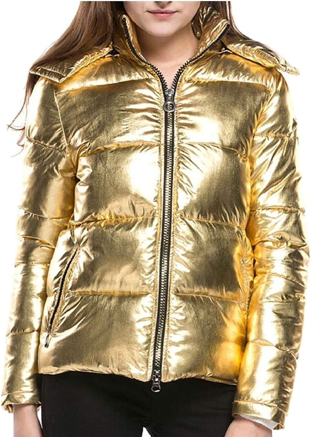 Gocgt Women's Down Jacket Hooded Short Quilted Down Puffer Jacket Coat