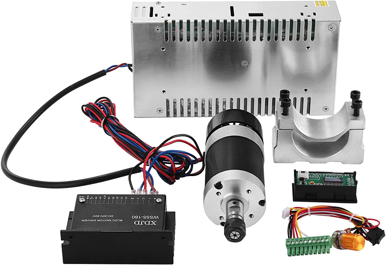 Bisujerro Kit de Eje CNC 400W Motor de Eje de CNC sin Escobillas 480W Fuente de Alimentación de Conmutación Controlador de Velocidad Conjunto de Eje CNC