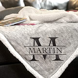 Monogrammed Sherpa Throw Blanket   Personalized Unique Wedding Couple Gifts   Anniversary   Engagement Gift Blanket